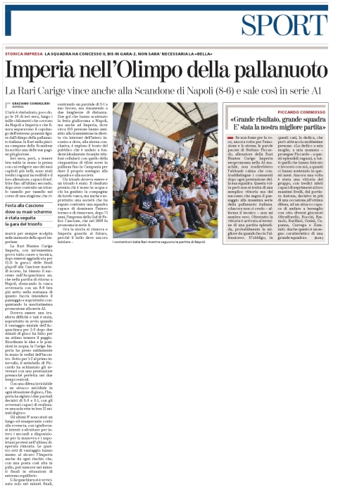 Stampa 28-06-09 - Rari Imperia in Serie A1